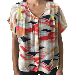 Anthropologie Maeve Short Sleeve Silk Top